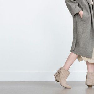 NWT Zara Suede Cream Flat Ankle Boots with Fringe